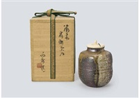 bizen tea caddy by yamamoto toshu