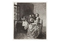young woman holding wine glass by johannes (van delft) vermeer