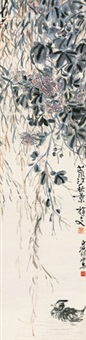 芙蓉野凫 (bird and flower) by qi baishi and ling wenyuan