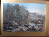 woodland scene of the river lledr, wales by e. a. warmington