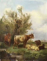kühe und schafe am wasser by ludwig sellmayr