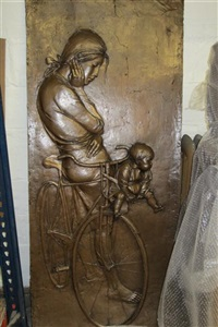 mother and child on bicycle by bruno lucchesi