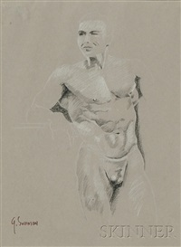 male nude (study) (+ male nude (study); 2 works) by george alan swanson