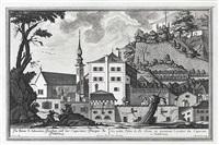 ansicht der st. johannes-kirche am kapuzinerberg mit umgebenden häusern und lederbearbeitung, pl. 15 (from die salzburgische kirchen-prospect) (engraved by karl remshart) by franz anton danreiter