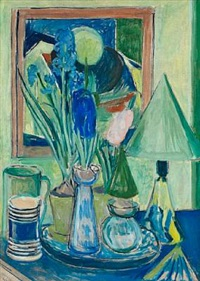 still life with hyacinths, pitchers and glasses by christine swane