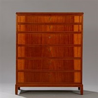 mahogany chest of drawers with profiled edges by frits henningsen