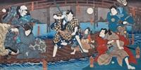 eine bootsszene vor einer brücke aus einem kabuki-stück (triptych) by utagawa kuniyoshi
