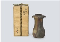 bizen floral vase by yamamoto toshu