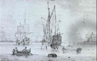 schiffe im hafen von amsterdam by sieuwert van der meulen