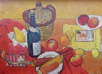 still life of bottles, corn on the cob, an art magazine, fruit and a book by john copnall