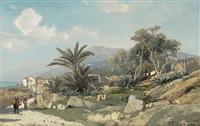 blick auf den malerischen ort an der riviera an einem frühlingstag by karl lorenz rettich