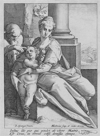 sacra famiglia davanti alla colonna by hendrik goltzius