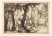 castello con fossato e tre figure a sinistra by cornelis visscher