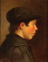 profile of a young boy with cap by john willard raught