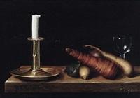 stilleben mit kerzenleuchter, glas, rüben und zwiebeln by wilhelm ferdinand xylander