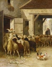 vor dem schafstall by jules-g. bahieu