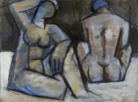 weiblicher akt mit rückenakt by alfred lehmann