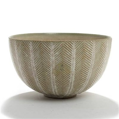 royal copenhagen bowl modelled with fluted pattern by axel johann salto