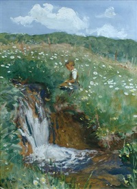 child by a waterfall, high summer, bavaria by heinrich pforr
