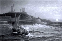 a fishing boat entering the harbour at st andrews by alexander young
