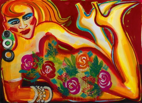 liegende auf rot mit rosenkleid by elvira bach