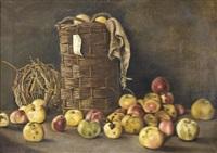 stillleben mit äpfeln in einem korb by g. leonnard