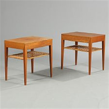 A pair of teak lamp tables underlying shelf with woven cane a pair of teak lamp tables underlying shelf with woven cane apron with hidden aloadofball Images