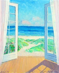 view of the sea through open doors by johannes meyer andersen