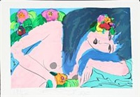 woman with flowers by walasse ting