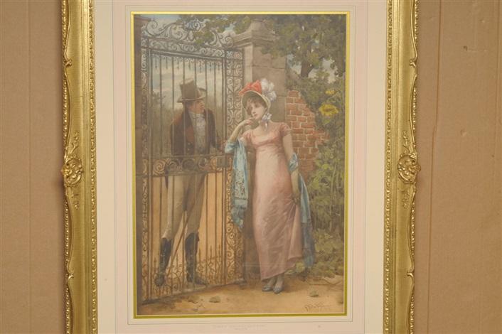 an elegantly dressed lady beside a gateway by henry gillard glindoni