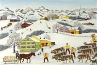 winterbild mit mehlfuhrwerk by albert manser