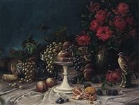 früchtestilleben mit blüten, silberner aufsatzschale und porzellanfigurine by alois zabehlicky