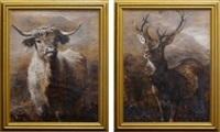 a pair of studies of a highland cow and deer stag by joseph denovan adam