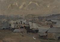 hafenanlage mit kleinen segelschiffen by rudolf hellwag