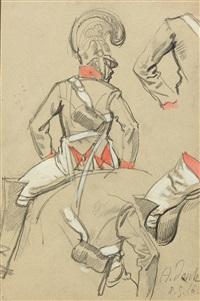 skizzenblatt zu einem reitenden kürassier by angelo jank