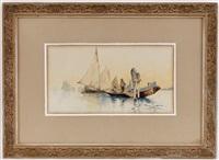 barques de pêcheurs, venise (pair) by jules gachet