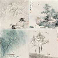 四季山水 (4 works) by ren daqing