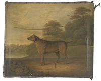 a dog in a parkland landscape, a church spire beyond by charles towne