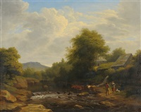 river landscape with a drover and cattle by philip hutchins rogers