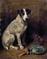 portrait of a seated fox terrier by john emms
