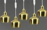 golden bell pendants (model a 330) (set of 5) by alvar aalto