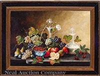 still-life with fruit, wine carafe, vase and bowl by american school (19)