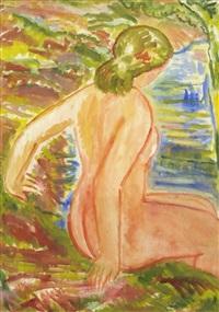 weiblicher rückenakt (+ sitzende, watercolor, verso) by franz reinhardt