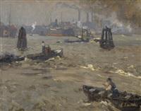 industriehafen mit booten und dampfschiffen (+ studie zu einem gehöft mit bäumen, verso) by alfred liedtke