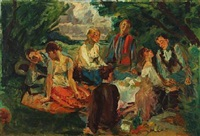 romantic picnic in the countryside by ludvig jacobsen