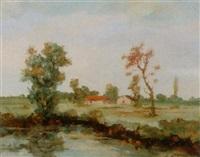 landschaft mit häuser und weiher by eduard löffler