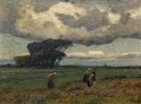 bäuerinnen auf dem heimweg vor einer abendlichen landschaft by eugen kampf