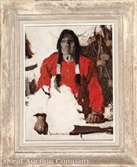 portrait of a native american hunter by walt louderback