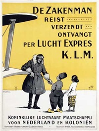 de zakenman reist verzendt ontvangt per lucht expres k.l.m by h.g. brian de kruyff van dorssen