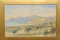 view in the south of france (old monaco from the gardens?) by mary weatherill